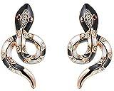 Daesar Ohrringe Vergoldet Ohrstecker Damen Schwarz Schlange Ohrring 1.4X2.7CM