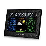 CHAOBEITE Wetterstation mit Weckerfunktion Anzeigen Temperatur/Feuchte / Barometer/Wecker / Mondphase/Uhr Digital Wetterstation mit Außensensor
