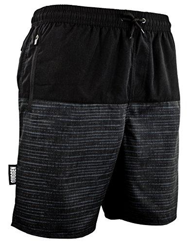 GUGGEN Mountain Herren Badeshorts Beachshorts Boardshorts Badehose Schwimmhose Männer mit Muster Grau Schwarz L