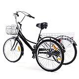 """Ridgeyard Bicicletta a 3 ruote per adulti, 24"""", 6 velocità, con cestino per la spesa, Black-2"""