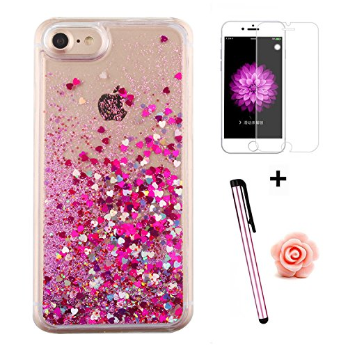 Custodia per iPhone 7 Case,Cover per iPhone 7,TOYYM - Love Heart Star Crystal Case Cover, Resistente Chiaro Trasparente [Bling Liquid] con divertente liquido flottante 3D con lussiosi glitter per iPho Color 16#