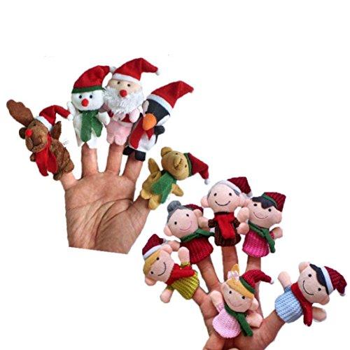 FAMILIZO 11pc tiempo de la historia de Navidad de Santa Claus y sus amigos marionetas del dedo del juguete