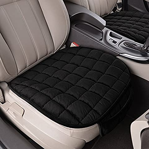 BEVERLY MEMORY Universal Grid Pattern 1PC Front Row Car Seat Cushion For Spring Summer Autumn Winter (Black)