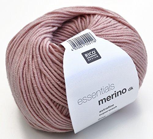 Merinowolle Rico Merino dk Fb. 16 puderrosa, weiche Wolle zum Stricken & Häkeln