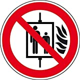 LEMAX® Verbotsschild Aufzug im Brandfall nicht benutzen, ASR/ISO, Folie, Ø 100 mm