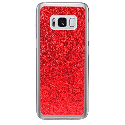 JAWSEU Samsung Galaxy S8 Plus Coque Transparent Glitter,Samsung Galaxy S8 Plus Etui en Silicone Clair avec Pailletee,Brilliante Bling Étoile Perles Soft Tpu Case Cover,Ultra Slim Sparkle Scintillant F red#