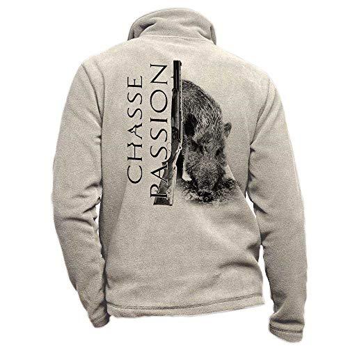 Pets-easy Blouson de Chasse en Polaire Beige personnalisé avec Un Sanglier, Chasse Passion - Veste de Chasse Taille 4XL
