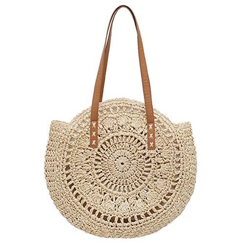 Beige Handtaschen Stroh (FZChenrry Damen Stroh Schultertaschen Großer Sommer Strand Handtasche Gewebte Runden Tragetasche Bommel Geldbörse B Beige)