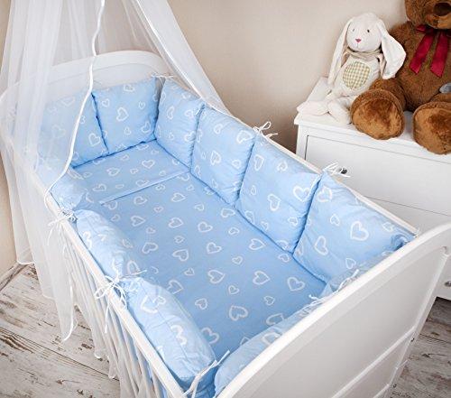 Baby Set Design II: cuori blu paracolpi letto biancheria da letto 100x 135per lettino-Trapunta cuscino paracolpi