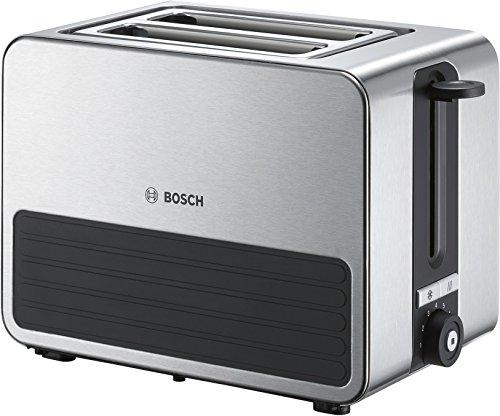 Bosch TAT7S25 Kompakt-Toaster (Abschaltautomatik, gleichmäßiges Rösten, Auftaufunktion, Aufknusperfunktion, 1.050 Watt) schwarz/grau