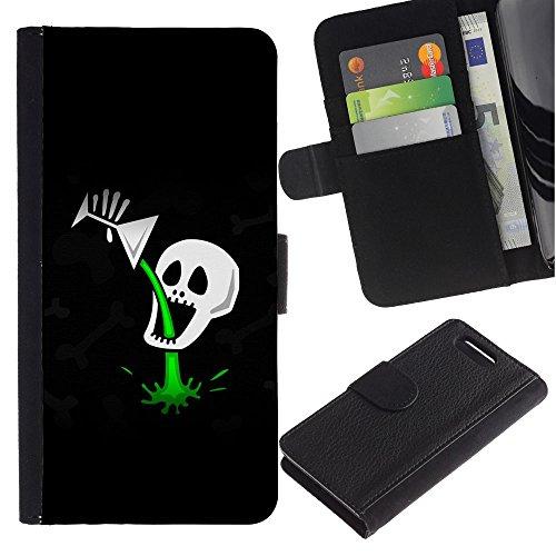 Vacchetta Portafoglio del Cuoio di vibrazione del Titolare della carta Custodia per Sony Xperia Z1 Compact D5503 / Business Style Funny Cocktail Skull Death Poison