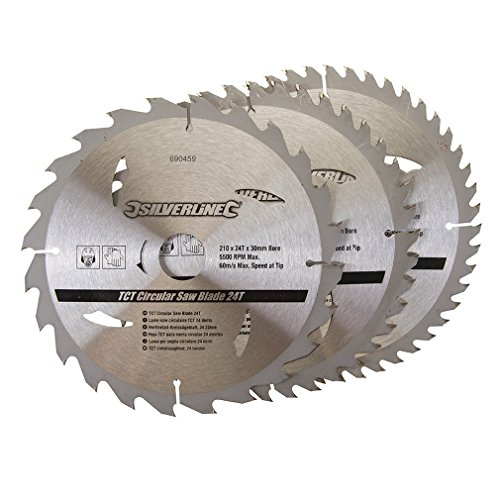 silverline-690459-tct-circular-saw-blades-24-40-48t-210-x-30-25-16-mm-rings-pack-of-3
