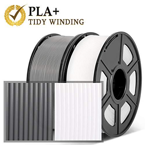 Filamento PLA Plus 1,75 mm, 2 kg, avvolgimento ordinato aggiornato, nessun groviglio, Bianco & grigio