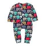 Covermason Babykleidung, Neugeborenes Baby Junge Mädchen Lange Ärmel Karikatur Elefant Spielanzug Overall Kleider Outfits (90, Marine)