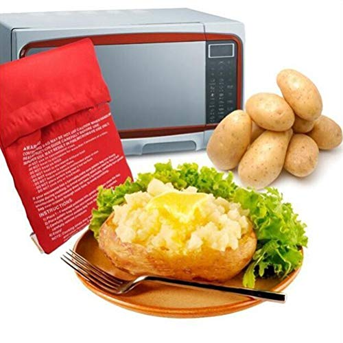 ele ELEOPTION Kartoffel Mikrowelle Beutel Mikrowellenherd Kochtasche Kartoffel Tortillas Maiskolben Express Backen Werkzeug (4 Stü.) (Stoff Mikrowelle)