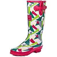 SPYLOVEBUY Adjustable Buckle Flat Festival Wellies Rain Boots Geo Red Sz 8