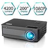 Proyector, WiMiUS Video Proyector 4200 Lúmenes Soporta Full HD 1080P Proyector LED 55000 Horas...
