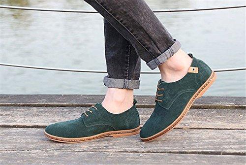 Wealsex Chaussures de ville à Lacet Chaussure Basse Cuir Suédé Casual Homme Vert