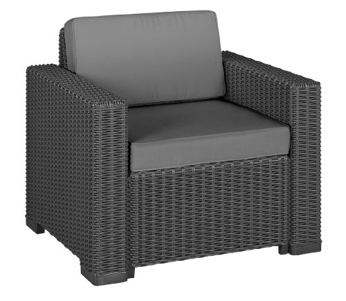 Allibert 212351 Lounge Sessel California Chair, Rattanoptik, Kunststoff, graphit, 2-er Set