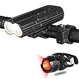 Hicool Fahrradlicht LED Fahrradbeleuchtung Set StVZO Zugelassen LED Fahrradlampe Front- und Rücklicht Wiederaufladbar Wasserdicht Beleuchtung für Fahrrad Mountainbike eBike Rennrad