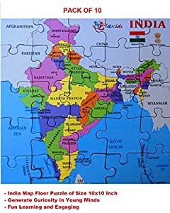 iQKids India Map Floor Jigsaw Puzzle for Kids with States and Their Capitals - Educational Toy(Pack of 10)