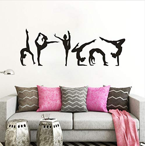 Wiwhy Gymnastics Girls Wall Sticker Sport Vinyl Wall Decal Gymnastics Silhouette Wall Poster Home Deocoration Girls Room Mural 118X42Cm