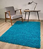 The Rug House TAPPETI Shaggy Spessi Eleganti Color Blu Foglia di Te' 7 Formati Disponibili 80cmx150cm (2ft7 x 4ft11)