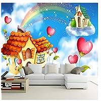 Zjxyz White Clouds Rainbow Castle Mural 3D Children Room Bedroom Baby Room Kindergarten Wall Decoration Paper