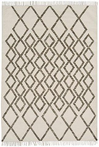 Moderne design Tapis kilim 160x230cm HAVRE Diamant Taupe Taupe 80% laine 20% JUTE