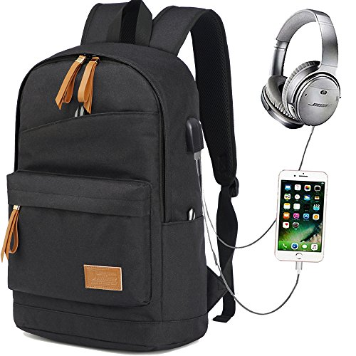 Hozee Wasserdicht Laptop Rucksack Schulrucksack Backpack USB Ladeport,12-15.6 Zoll jugendliche Rucksack Schule für Herren Männer Reise Wandern
