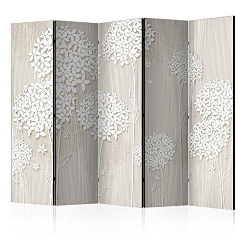 murando Raumteiler Foto Paravent Blumen 225x172 cm einseitig auf Vlies-Leinwand Bedruckt Trennwand Spanische Wand Sichtschutz Raumtrenner beige weiß b-B-0278-z-c