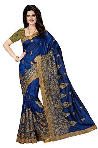 Rani Saahiba Women's Embroidered Art Silk Saree With Brocade Blouse(Skr2761_Blue)