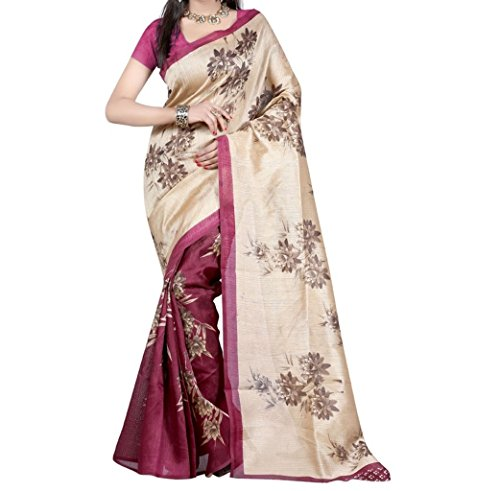 Vedant Vastram Woman's Bhagalpuri Silk Printed Saree With Blouse Piece (Pink & Golden Color Free Size)  available at amazon for Rs.329