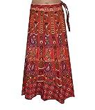 BuyNewTrend Red Cotton Wrap Around Skirt