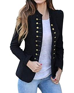 Easy Young Fashion Damen Vintage Military Jerseyblazer Dunkelblau Marine XS 34 S