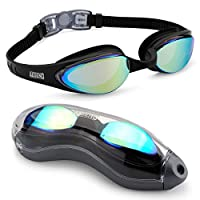 aegend Mirrored Swimming Goggles No Leaking Anti Fog UV Protection Triathlon Swim Goggles Mirror Coated with Free Protection Case for Adult Men Women Youth Kids Child, Black