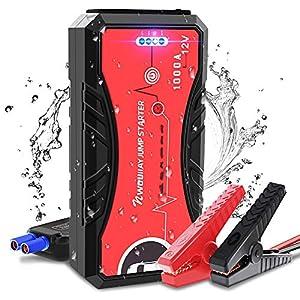NWOUIIAY Wasserdicht Starthife powerbank mit Schnellladung 3,0 Auto Starthife 1000A Spitzstrom13200mAh Tragbare Auto Starthilfe mit Schnellladung bis zu 6LGasmotoroder5LDieselmotor