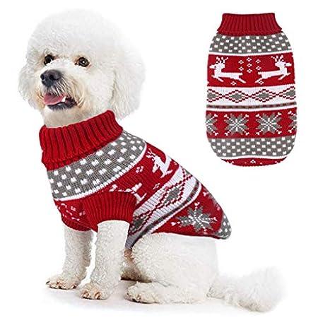 Idepet Hundekostüm Weihnachten, Welpe Hund Katze Strickpullover Sweater Weihnachten Rentier Jumper Haustier Kostüm…