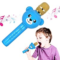 Wireless Karaoke Microphone for Kids,Yunbaoit Portable Karaoke Machine with Speaker,for iPhone,Android or Smartphone,Home KTV,Outdoor Party Music Playing Singing and Recording(Blue)