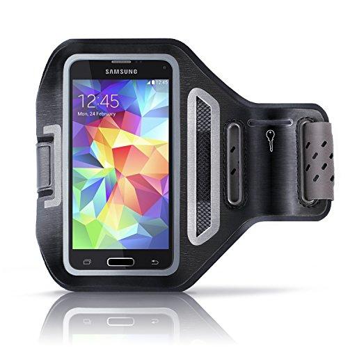 """Preisvergleich Produktbild Aplic - Samsung Galaxy / HTC / LG Sportarmband mit Schlüsselfach + Kopfhörerhalter / passgenau für Smartphones mit bis zu 4, 7""""(11, 9cm) / atmungsaktives Mesh-Gitter / spritzwassergeschützt / inkl. Reflektorstreifen / schweißbeständig / Samsung Galaxy S3 / S4 / HTC One,  LG"""