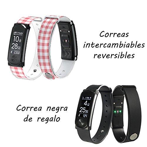 Leotec Aktivitätsarmband Cool HR mit Herzfrequenzmonitor am Handgelenk, Aktivitätsmonitor, wasserdicht, austauschbare Riemen und intelligente Benachrichtigungen, Weiß