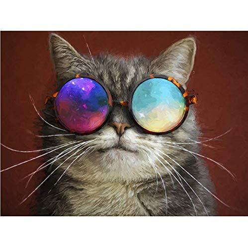 RYUANYUAN Voll 5D DIY Diamant Malerei Vintage Brille Katze 3D Diamant Malerei Runde Strass Diamant Malerei Stickerei Tiere 30x40 cm