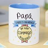 La Mente es Maravillosa - Taza con frase y dibujo divertido'Papá, te mereces una medalla por estar conmigo en cada batalla' Regalo para PAPÁ