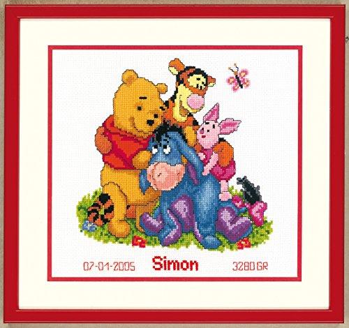 Vervaco PN-0014846 Zählmusterpackung Winnie The Pooh und Freunde aida Kreuzstickpackung zum Auszählen, Aida, Weiß, 22 x 23 x 0, 30 cm (The Baby-kreuzstich Pooh Winnie)