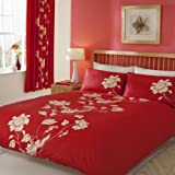 Double Chantilly Red Duvet Cover Modern Design 4Pcs Polycotton Complete Bedding Set (1 x Duvet Cover, 1 x Fitted Sheet And 2 x Pillow Case) by Quality Linen and Towels