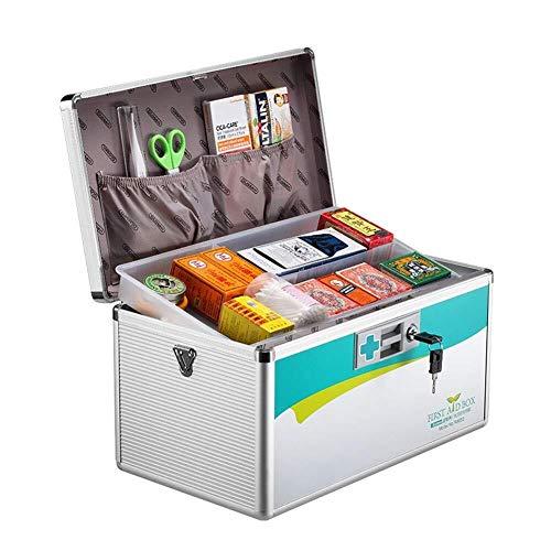 GOXJNG Medizin Box Set Tragbare Erste-Hilfe-Box Aluminium Medizin-Schrank Abschließbare Medical Kit mit verstellbarem Schultergurt for Home Reise Arbeitsplatz Büro (Color : Silver, Size : L)