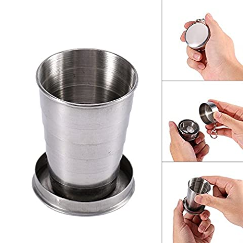 Ezyoutdoor 2 pcs Collapsible Cup Stainless Steel Portable Folding Metal Telescopic Keychain Folding Cups for excursion Outdoor Travel Camping Picnic Backpacking Outing Hiking Backpacking 150ml