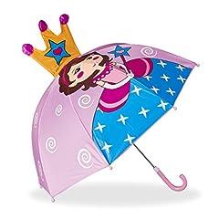 Idea Regalo - Relaxdays Ombrello per Bambini 3D Principessa, Parapioggia per Bimba, Ombrellino Bastone Leggero Piccolo a Campana