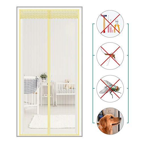 Coedou zanzariera magnetica, gli insetti rimangono fuori, facile montaggio, entrare aria fresca per porte, beige, 100x210cm(39x83inch)