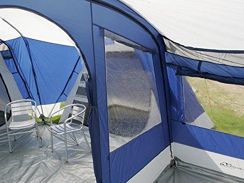 skandika Nimbus 12 Personen Familien-Zelt blau, wasserdicht durch starke 5.000 mm Wassersäule. Großes, geräumiges und robustes Steilwand-Zelt, Tunnel-Zelt mit Insekten-Netzen und über 2 m Stehhöhe -